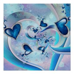 Blue Ocean Hearts Fractal Jewels Poster - decor gifts diy home & living cyo giftidea