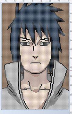 Anime Pixel Art, Art Anime, Anime Chibi, Pixel Pattern, Pattern Art, Cross Stitch Embroidery, Cross Stitch Patterns, Diy Bags Patterns, Modele Pixel Art