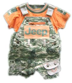 images of camo baby clothes | Jeep Baby Clothing - Jeep Camo Overalls Orange Shorts & Tee-Shirt Set