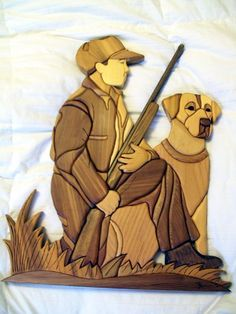 Hunter and Dog Intarsia
