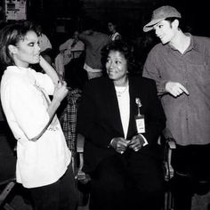 Janet with Michael and Mom-On the set of SCREAM.