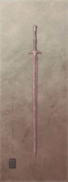 very simple longsword, with decorative ring on its hilt and unknown writings on its blade.
