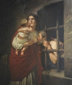 Paintings of Roman Charity, daughter breastfeeding her father starving in prison | Milkydreams