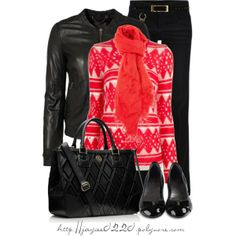 """Bright Red and Black"", created by jaycee0220 on Polyvore"