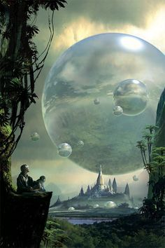 "I'd call this #scifi piece 'The Orbs of Fantasia' though it's called ""Fantasy worlds"" by Stephan Martiniere"