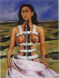 Lilarama Frida Kahlo - The Broken Column Framed Canvas Art Print Reproduction Frida Kahlo Artwork, Kahlo Paintings, Frida Art, Diego Rivera, Most Famous Paintings, Famous Art, Fridah Kahlo, Mexico Culture, Mexican Artists