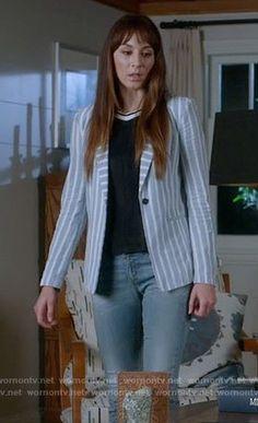 Spencer's blue striped blazer on Pretty Little Liars. Outfit Details: https://wornontv.net/72601/ #PLL