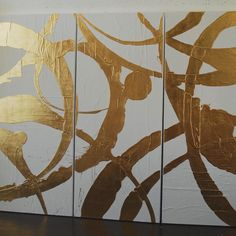 """By artist Allison Cosmos. Finished this triptych for @joycesilvermaninteriors . Gold leaf of a cool matte white. 70"""" x 30"""" each panel. #joycesilvermaninteriors #gold #goldleaf #triptych #canvas #contemporaryart #abstractart #allisoncosmos"""