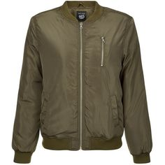 f00d90792 Teens Khaki Zip Front Bomber Jacket ( 45) ❤ liked on Polyvore featuring  outerwear