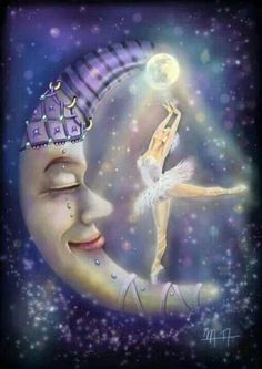 The Moonlight Dance by digital artist Martina Arend. Ballet art - I love these prints! I want to frame some for her nursery! Sun Moon Stars, Sun And Stars, Moon Dance, Moon Illustration, Ballerina Illustration, Moon Pictures, Paper Moon, Good Night Moon, Moon Magic