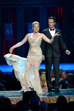 Actors Megan Hilty and Neil Patrick Harris perform onstage at The 67th Annual Tony Awards at Radio City Music Hall on June 9, 2013 in New York City.