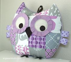 Medium Patchwork Owl Pillow Plush Toy  - Lilac and Gray