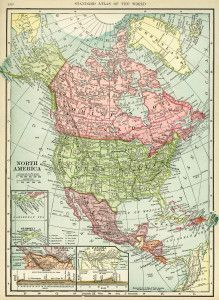 antique map, vintage map North America, history geography North America, old map free graphics, C. S. Hammond map