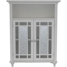 Shop for Essential Home Furnishings Jezzebel White Wood and Silver Mosaic Glass Double Door Floor Cabinet. Get free delivery at Overstock - Your Online Furniture Outlet Store! Get in rewards with Club O! Bathroom Floor Cabinets, Bathroom Flooring, Bathroom Furniture, Mosaic Furniture, Bathroom Interior, Wooden Cabinets, White Cabinets, Linen Cabinets, Curio Cabinets