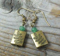 Fern Gully Earrings - plant nature antique brass gold - stone green aventurine beaded