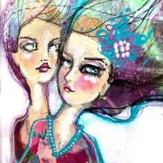 Beautiful Boho girls made with my lovely Mixed Media range! Colorful Drawings, Art Drawings, Face Illustration, Illustrations, Feeling Fine, Boho Girl, Face Art, Mixed Media Art, Art Girl
