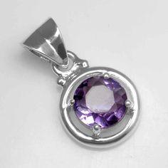 925 Sterling silver 2.70 Gram Natural Amethyst Top Quality Round Design Pendant #Handmade #Pendant
