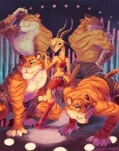 Gazelle & Tigers by ponyboots Arte Disney, Disney Art, Disney Movies, Disney Pixar, Zootopia Characters, Zootopia Art, Rapunzel Eugene, Neko, Fairy Tail