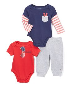 This Red & Blue Patriotic Bodysuit & Pants Set - Infant is perfect! #zulilyfinds