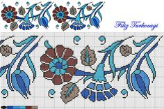 Designed by Filiz Türkocağı Mini Cross Stitch, Cross Stitch Borders, Cross Stitch Flowers, Cross Stitch Designs, Cross Stitching, Cross Stitch Patterns, Folk Embroidery, Cross Stitch Embroidery, Embroidery Patterns