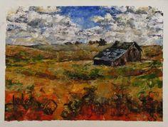 """Under the Big Sky"" by Tobie Liedes. 8x6 inch impressionism landscape. Palette knife painting."