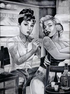 """18""""x24"""" Audrey Hepburn tattooing Marilyn Monroe painting art poster print -signed by artist with initials- HOW AWESOME IS THIS"""