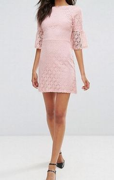 65c5a96327f7 Miss Selfridge Pink Lace Bell Sleeve A-Line Dress Size UK 14 LF089 CC 05