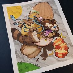 Here's @gigantornio 's take on the Tanuki which they created with Chameleon Pens and some tattoo pigments #chameleonpens #paint #painting #marker #alcoholmarkers #tanuki #neojapanese #japanese #watercolor