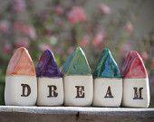 A set of miniature rustic ceramic DREAM houses  Miniature houses  Little houses  Dream cottage - elitett tbteam