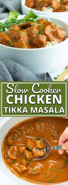 It's time to pull out that Crock-Pot, whip up some Indian seasonings, and enjoy a big bowl of this easy and healthy Slow Cooker Chicken Tikka Masala. Slow Cooker Chicken Healthy, Healthy Crockpot Recipes, Slow Cooker Recipes, Chicken Cooker, Keto Recipes, Slow Cooker Chicken Whole, Crockpot Whole Chicken Recipes, Slow Cooker Chicken Thighs, Crock Pot Slow Cooker