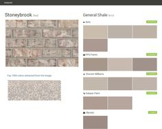 Stoneybrook. Red. Brick. General Shale. Behr. PPG Paints. Sherwin Williams. Valspar Paint. Olympic.  Click the gray Visit button to see the matching paint names.