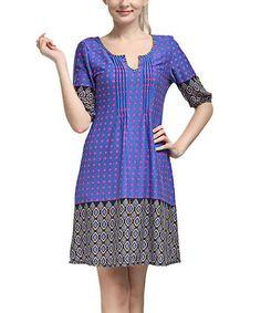 Look at this #zulilyfind! Blue Polka Dot Notch Neck Shift Dress #zulilyfinds
