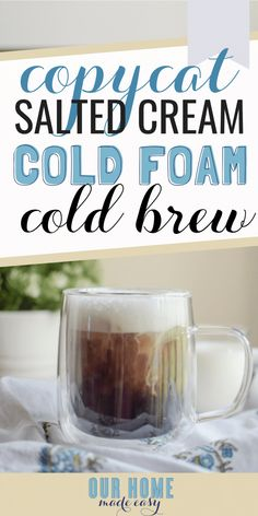 Love the new Salted Cream Cold Foam Cold Brew? Make it home really easily with this copycat recipe! Save money & pour in all the cold foam you want! Starbucks Pumpkin, Starbucks Drinks, Coffee Drinks, Starbucks Coffee, Starbucks Vanilla, Healthy Starbucks, Coffee Cans, Bison, Starbucks Sweet Cream