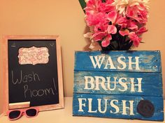 A personal favorite from my Etsy shop https://www.etsy.com/listing/233614816/bathroom-wall-decor-wash-brush-flush