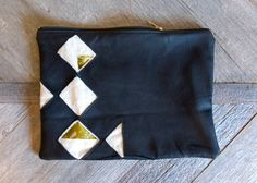 Quilt diamond leather clutch with green floral silk by Rally Made $65.00