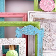 Painted frames. Imaging using Chalk Paint® decorative paint by Annie Sloan  in  different colors. The results will be amazing.
