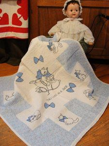 Sweetest Vintage Embroidered Applique Kitty Cat Crib Quilt | eBay