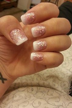 Time for Glitter Party Nails. Glitter nails that fade to white french tip manicure. Glitter French Manicure, French Manicure Designs, French Manicures, Glitter French Tips, French Pedicure, Glittery Acrylic Nails, Glitter Ombre Nails, Holiday Acrylic Nails, Pink Sparkle Nails