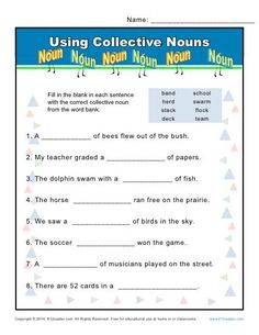 In this worksheet, your student will select the correct collective noun from the word bank. Good Grammar, Teaching English Grammar, English Worksheets For Kids, Grammar Lessons, Collective Nouns Worksheet, Proper Nouns Worksheet, Parts Of Speech Worksheets, Worksheets For Grade 3, English Transition Words