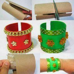 Bracelets avec rouleaux de papier toilette