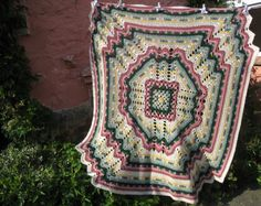 Inspiration ~ Gorgeous vintage afghan, no pattern :-(   ** Update: pattern at this link - http://www.leisurearts.com/products/rainbow-crochet-pattern-afghan-jacket-and-bootie-set-digital-download.html