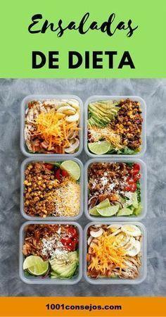 4 Ensaladas para bajar de peso These 4 salads will help you lose weight quickly Comidas Fitness, Cooking Recipes, Healthy Recipes, Ketogenic Recipes, Diet Recipes, Leftovers Recipes, Keto Diet For Beginners, Food Preparation, No Cook Meals