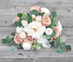 Wedding Bouquet Flowers Blush Rose Peach Rose Eucalyptus