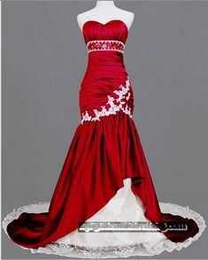 Red Wedding Dress by LeontinaCouture on Etsy, $489.00