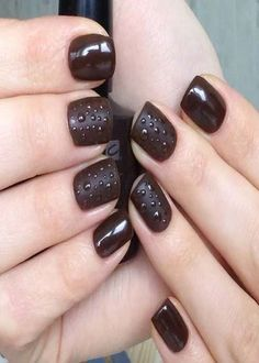 The brown shellac manicure on short and long nails 2019 Latest Nail Designs, Latest Nail Art, Nail Art Designs, Shellac Manicure, Bridal Nail Art, Nail Art Images, Wedding Nails, Long Nails, Brown