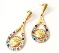 Drop Twelve Tribes - Star of David Earring 18K Gold Layered by HADASSAHjewelry on Etsy