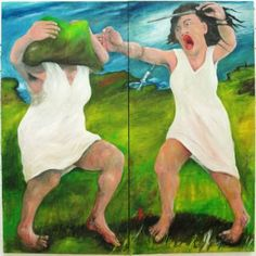 "Saatchi Art Artist Michael Hayter; Painting, ""Bipolar"" #art(2014) oil, acrylic, ink, saliva and urine on canvas 182cm x 180cm x 5cm"