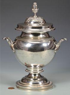 Coin silver sugar urn marked E & D Kinsey (Edward & David Kinsey, active Newport, KY and Cincinnati, OH, 1844-1861).