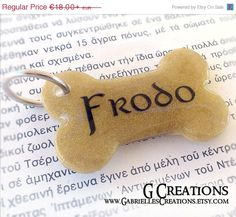 ON SALE Gold Bone Dog Tag  Golden Shimmer  by GabriellesCreations
