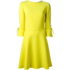 Ermanno Scervino bow cuff skater dress (395 KWD) ❤ liked on Polyvore featuring dresses, yellow skater dress, bow dress, ermanno scervino, skater dress and yellow dresses